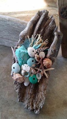 Modern Blues meets Rustic Beach Shabby Driftwood & Seashell, Urchin, Sea Fan Artwork by The Shell Lady
