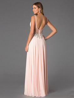 A-Line/Princess V-neck Sleeveless Beading Chiffon Floor-Length Dresses - Long Prom Dresses - Prom Dresses