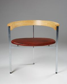 PK11. Designed by Poul Kjaerholm for E. Kold Christensen, Denmark. 1957. Ash brushed steel and cognac leather.