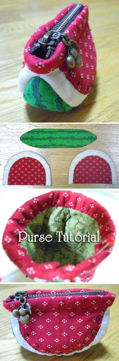 This is a Tutorial in Pictures for a fun project to make a Watermelon Coin Purse.  http://www.handmadiya.com/2015/10/watermelon-purse-tutorial.html
