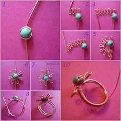 Flower wire ring #tutorial. Tons of other great wire tutorials too. #jewelry #DIY #beading.