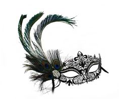 Simone Peacock Feather Black Laser Cut Women's by SuccessCreations