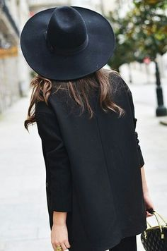 Fashion, all black outfit, hat, shirt