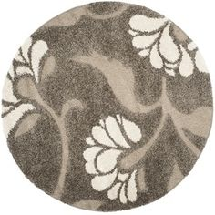 Shop for Safavieh Florida Shag Smoke/ Beige Floral Round Rug (4' Round). Get free shipping at Overstock.com - Your Online Home Decor Outlet Store! Get 5% in rewards with Club O! - 16764181