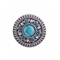 """Chunk Snap Charm Mini Petite 12mm Turquoise Stone Center, 1/2"""" Diameter"""