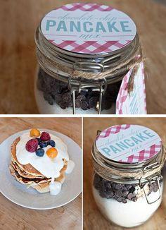 Chocolate Chip Pancake Mix in a Jar   30 DIY Christmas Gifts in a Jar Ideas   DIY Mason Jar Christmas Gifts