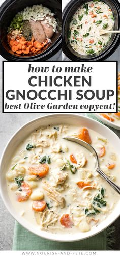 This creamy crockpot chicken gnocchi soup is the perfect recipe! Tender veggies, pillowy gnocchi, and a velvety broth that everyone loves. Creamy Crockpot Chicken, Crockpot Dishes, Crock Pot Cooking, Soup Crockpot Recipes, Olive Garden Chicken Gnocchi Soup Recipe Crock Pot, Veggies In Crockpot, Soups With Chicken Broth, Chicken And Veggie Soup, Recipes With Chicken Broth