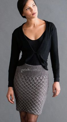 Knit like - share in the comments Stylish, unusual and original knit skirt without seams. Crochet Skirts, Knit Skirt, Crochet Clothes, Knit Dress, Moda Crochet, Knit Crochet, Crochet Woman, Skirt Pattern Free, Free Pattern