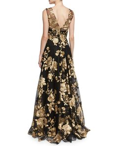 "Marchesa Notte ball gown with metallic floral embroidery. Approx. length: 54""L from shoulder to hem, 57""L down center back. V neckline and at back. Sleeveless; moderate shoulder coverage. Fitted bodic"