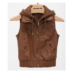 Ashley Hooded Vest ($45) ❤ liked on Polyvore featuring outerwear, vests, brown, brown vest, hooded vest, brown waistcoat, cropped vest and faux leather vest