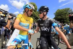 """TdF'14 St.3: """"Ok Vincenzo you can wear yellow into London and I'll wear yellow into Paris - deal?"""" Pic:CorVos/PezCyclingNews"""