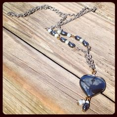 Vintage Blue Stone Mirror Heart Necklace  Ocean by JewelsofJane, $12.00