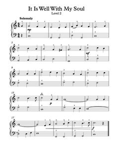 Free Piano Arrangement Sheet Music - It Is Well With My Soul - Level 2