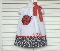 Personalized Ladybug Pillowcase Dress size 6 mo to girls size 6. $35.95, via Etsy.
