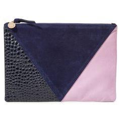 Clare V. Patchwork V Flat Clutch ($240) ❤ liked on Polyvore featuring bags, handbags, clutches, genuine leather handbags, leather purse, blue purse, blue leather handbag and crocodile handbag
