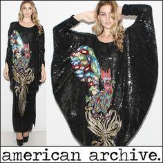 Vtg 70s Sequin Rooster Drape Bead Avant Garde Batwing Deco Sheer Silk Maxi Dress | eBay