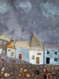 "Previous pinner: ""by the amazing Carolyn Saxby (LOVE STITCHING RED)""  Me: "" 'from a pale grey sky.'  A pale grey sky glittered with crystal bead raindrops, a row of stitched cottages with cute little windows and doors and reverse applique cobbles - stitched on silk...reverse applique"" wow"