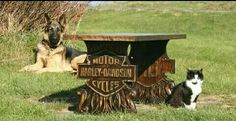 Harley Davidson carved wood table