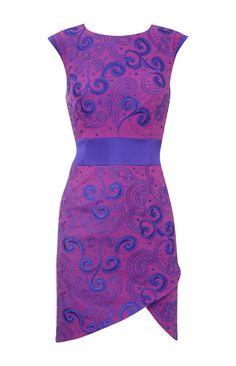 Karen Millen Embroider Tailored Dress Purple Multicolor [#KMM013] - $86.19 :