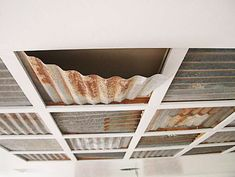 corrugated tin ceiling There were some corrugated metal ceiling panels in the loft This is Basement Remodeling, Recycled Tin, Metal Ceiling, Metal Panel Ceiling, Trendy Kitchen Backsplash, Corrugated Tin Ceiling, Tin Ceiling, Dropped Ceiling, Basement Ceiling