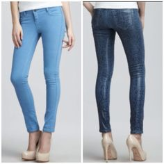 """✂SALE✂HP BleuLab denim reversible detour jean A breakthrough in function and fashion, these Bleu Lab denim leggings reverse from an exotic snake print to a bright blue wash so you get twice the versatility from your premium denim investment. Pacific blue reptile-print denim with glossy coat reverses to solid, matte light blue. Continental pockets; clean back pockets. Low rise sits high on hip, approx. 8 1/2"""". Fitted through skinny legs. Ankle length. 30"""" approx. inseam. Button/zip fly; belt…"""