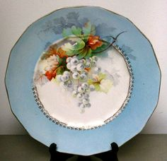 Early 1900s Antique Dresden Gold Trim Grapes China Platter Plate in RARE Blue 10.25""