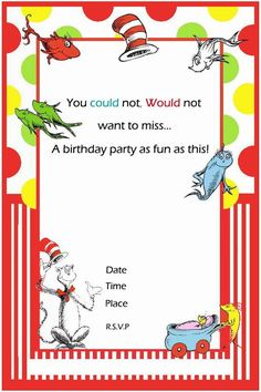 cool free printable dr seuss cat in the hat invitation template
