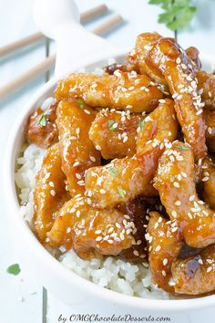 Honey Sesame Chicken | OMG Chocolate Desserts