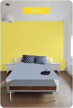 slaapkamer gele muur
