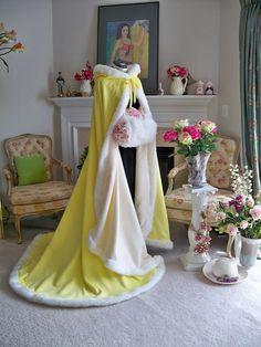Beauty Belle Bridal cape 62 inch Lemon Yellow  / by capeandcrown13, $165.00