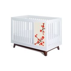Sam Red Blossom Two Piece Panel Design Crib Set