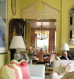 3.11.11: Mario Buatta   New York Social Diary Living room with view of dining room, NYC apt. of......