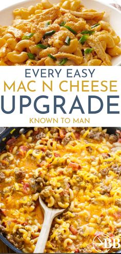 Who doesn't love mac & cheese? Dinnertime just got way more exciting! Here are 26 different (& delicious!) ways to upgrade a basic mac and cheese recipe. Basic Mac And Cheese Recipe, Easy Mac And Cheese, Mac Cheese, Clean Dinner Recipes, Beef Recipes For Dinner, Easy Healthy Dinners, Healthy Dinner Recipes, Easy Dinners, Cheap Dinners