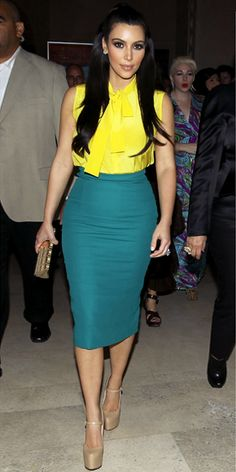 Love the color combo, flatters her body like whoa! And love she wore a nude heel