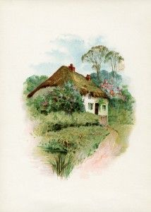 "free printable digital image design resource ~ vintage cottage scene from ""Rubies From Byron"", 1895"