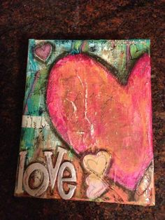 mixed media/heart/love by blanche