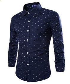 Mens Lapel Neck Anchor Floral Long Sleeve Slim Casual Dress Shirts  Go to the website to read more description.