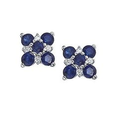 14kt White Gold Blue Sapphire and Diamond Earrings - Crafted in 14kt white gold - Round Diamonds 0.08ct * total weight - H-I color, SI1-SI2 clarity *carat weight and any measurements are approximate