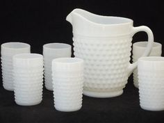 vintage milk glass lemonade set, hobnail glass pitcher & dot dash tumblers