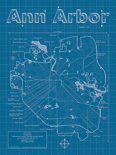 Ann Arbor Map / Original Artwork / Ann Arbor Blueprint / Wall