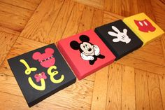 Mickey Mouse Disney Painted Canvas Set of 4 Mickey Mouse Bathroom, Mickey Mouse Room, Mickey Mouse Classroom, Disney Classroom, Disney Diy, Disney Crafts, Painted Canvas, Canvas Art, Disney Rooms