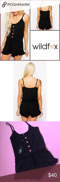 Wildfox Heart Buttons Pajama Romper Size Small |DESCRIPTION|  ~ WILDFOX pajama romper 💕  ~ New with Tags Wildfox Other