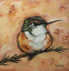 """Kolibrie schilderen, 5 x 5"""" origineel impressionistische olieverfschilderij van een kolibrie op een tak. Bird schilderijen. * Pre-order"""