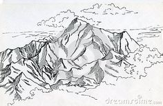 Landscape with mountain range, forest, clouds and distant sea drawn in ink.