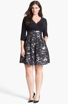 The skirt of this dress is so beautiful!!! Eliza J - Jacquard Skirt Dress (Plus Size) #plussize #dress #plussizedress