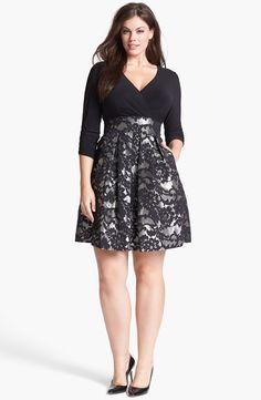 The skirt of this dress is so beautiful!!! Eliza J - Jacquard Skirt Dress (Plus Size) #plussize #dress #plussizedress