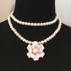 """HPDouble pink Camillia pearl choker necklace GORGEOUS! Short necklace /Chocker style! Until I receive it, if purchased it will be as is. Thank you. (Measurements may vary since going through a new vendor)  > 16"""" Boutique Jewelry Necklaces"""