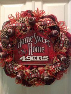 Custom Wreath for the San Francisco 49ers Wreath, Football Wreath, Nfl 49ers, 49ers Fans, Wreaths For Front Door, Mesh Wreaths, Football Crafts, Football Stuff, Home Crafts