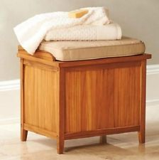 Details About Hamper Bench With Cushion Teak Bathroom