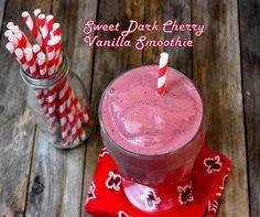 Sweet Dark Cherry Vanilla Smoothie, via @Noble Pig {noblepig.com}